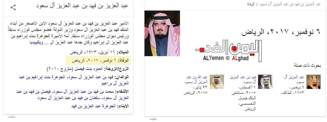 حقيقة وفاة عبدالعزيز بن فهد
