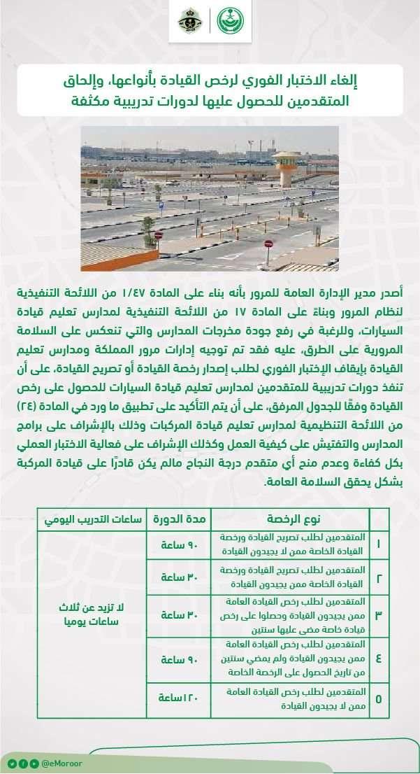 تغييرات في إستخراج رخصة السياراة في السعودية وكم عدد الساعات والرسوم